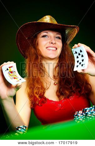 Photo of the girl with playing cards