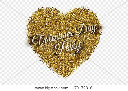 Valentine's Day Party Illustration. Golden Shiny Tinsel Square Particles Abstract Vector Heart with 3d text on Transparent Background. Celebration, holidays and party design element