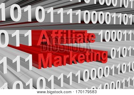 affiliate marketing is presented in the form of binary code 3d illustration