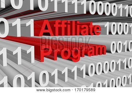 affiliate program in binary code, 3D illustration