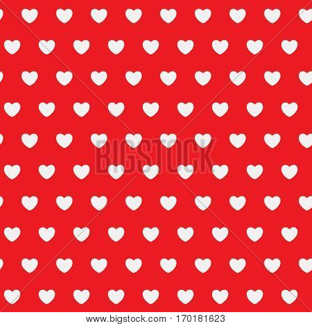 White Hearts on a red background. Abstract seamless pattern. illustration.