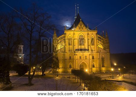 Saint Barbara cathedral in town Kutna Hora in the night Czech Republic