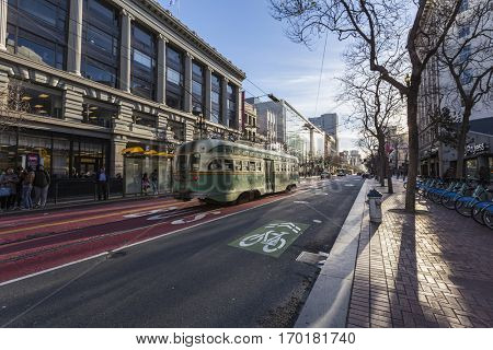San Francisco, California, USA - January 14, 2017:  Early morning street car at Market and 5th Streets near Union Square in downtown.