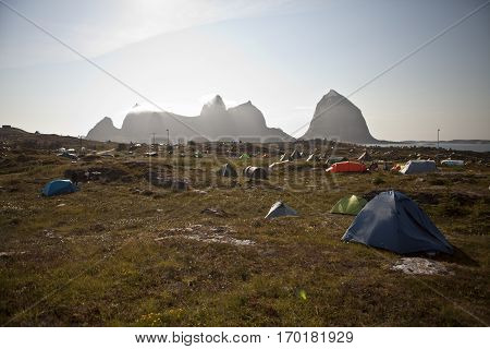 Traena Norway - July 10 to 12 2014: campsite Traenafestival music festival taking place on the small island of Traena