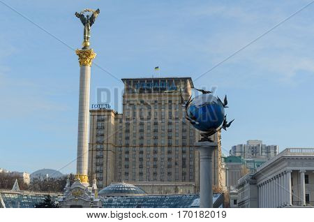 KYIV UKRAINE - DECEMBER 05 2016: View on Independence Monument and Globe on the Maidan Nezalezhnosti square in Kyiv Ukraine
