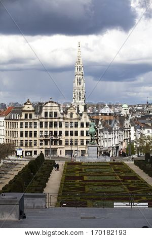 Brussels Belgium - April 17 2016: View from Monts des Arts with view on the tower of cityhall. Brussels is the capital of Belgium and the de facto capital of the European Union.