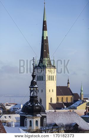 City scape of the old town of Tallinn with Saint Olaf's church spire