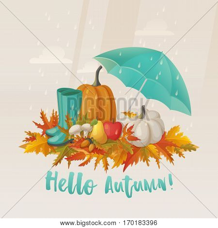 Forest autumn fruits and vegetable, mushrooms and chestnut or beech acorn, rubber boots and umbrella under rain, apple and pear. Wood boletus hunting or picking, foraging or mushrooming, fall leaves