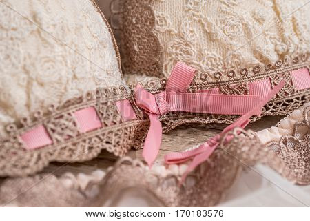 Bra And Panties On A Wooden Background