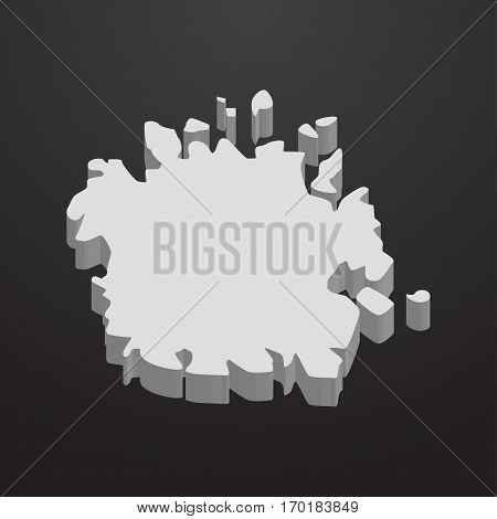 Micronesia map in gray on a black background 3d