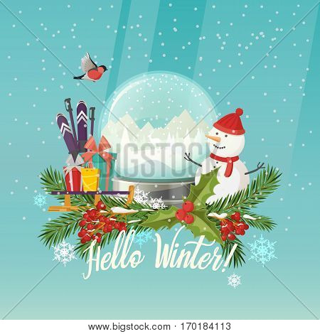 Winter postcard with snow globe or snowstorm, snowdome with falling snow, gift or presents on sledge or sled, sleigh, bullfinch bird and rowanberry, fir-tree branches, ski and poles or sticks, snowman