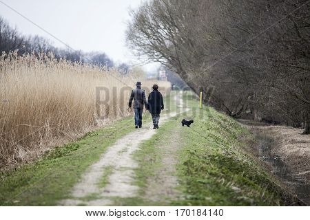Mature couple walking with their dog on a dike The Netherlands