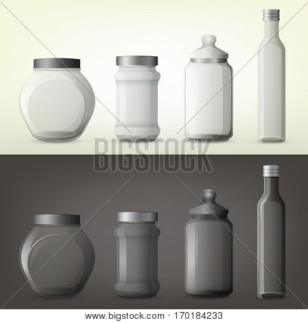 Set of isolated glassware bottles for spicy cooking ingredient. Jar with spice or container for seasoning, can for salty herb. Nutrition and cook, organic food and kitchen utensil, gourmet theme