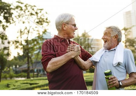Senior Adult Friendship Exercise Fitness Strength