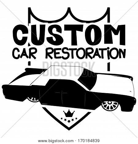 Vector illustrated custom car restoration logo with luxury car.