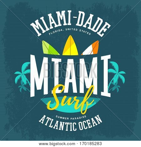 Atlantic ocean sign with surfboards and palms, water waves. Clothing label for American miami surfing banner, t-shirt print with summer board. Branding and advertising, travel and tourism theme