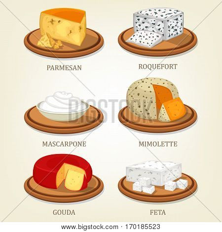 Italian parmesan reggiano cheese and french roquefort slice, cream mascarpone and mimolette chunk, netherlands gouda and porous feta on isolated plates. Milk food and nutrition, appetizer theme
