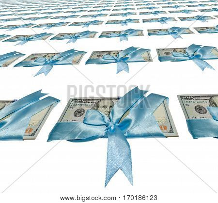american dollar isolated on white. kaleidoscope effect