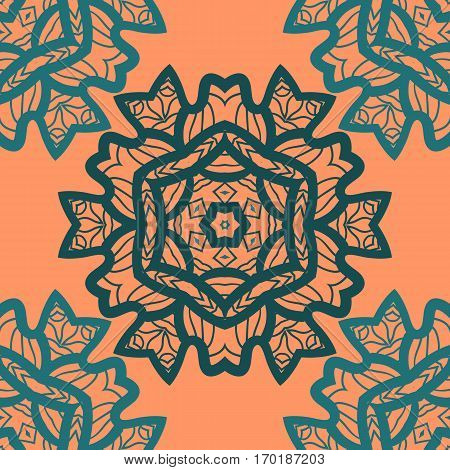 Oriental ornament pattern in orange color. Vector decorative background stylized floral geometric ornament. Repeating geometric tiles indian mandala.Tibetian or Indian motives. For colouring pattern.