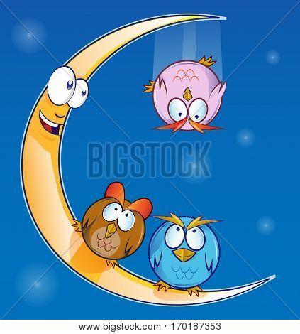owl cartoon on the moon on blue background