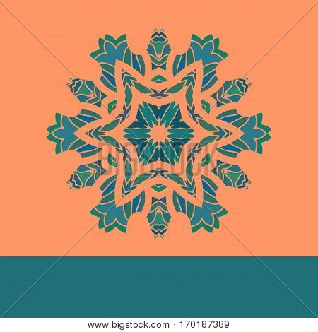 Vintage vector mandala pattern retro green on orange. Hand drawn abstract flayer cover. Decorative retro pattern. Wallpaper for banner, invitation, wedding card, and other designs.
