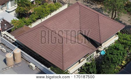 Roof tiles and made from ceramic and metal material and top view angle.