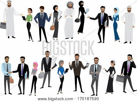 Big cartoon set of Arab men and women in different clothes and characters, isolated without background, stock vector illustration