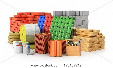 Materials for roofing construction materials isolated on a white background. 3D illustration