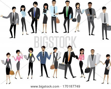 Big Set Asian businessmen and business women, isolated without background, cartoon stock vector illustration