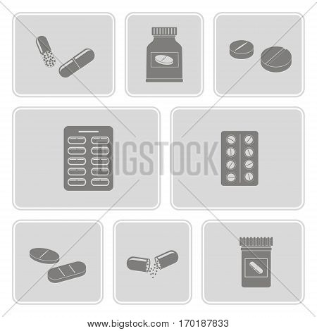monochrome icons set with  drugs pills and capsules  for your design
