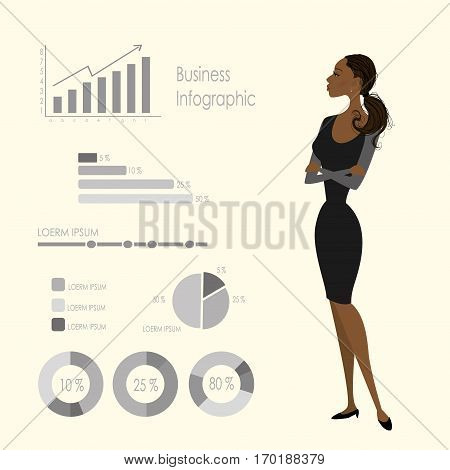 Beauty african american business woman and infographics template, stock vector illustration