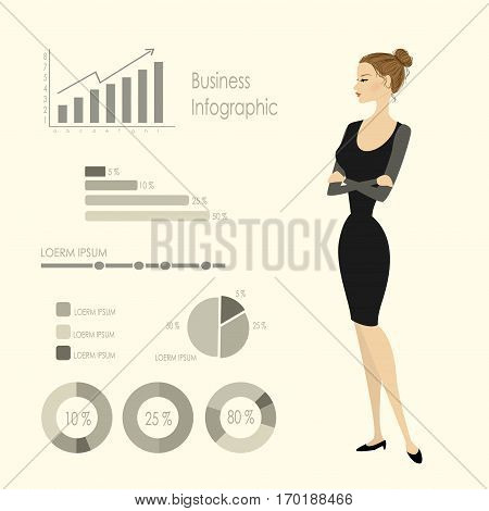 Beauty  business woman and infographics template, stock vector illustration