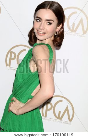 LOS ANGELES - JAN 28:  Lily Collins at the 2017 Producers Guild Awards  at Beverly Hilton Hotel on January 28, 2017 in Beverly Hills, CA