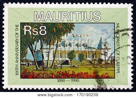 MAURITIUS - CIRCA 1990: a stamp printed in Mauritius shows Municipality of Curepipe centenary circa 1990