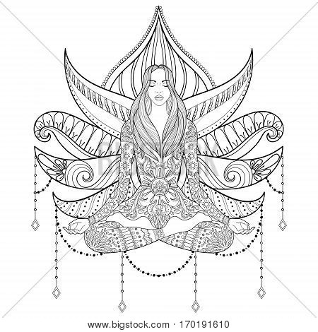 Woman sitting in lotus position on lotus-flower background.  Vector ornate girl silhouette for adult coloring pages, meditation, yoga, gipsy soul, hand drawn ethnic motif.