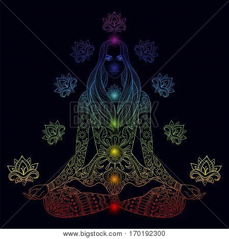 Girl sitting in lotus pose with chakras.  Vector ornate boho woman with lotus-flower for adult coloring pages, meditation, yoga symbol, color dark background.