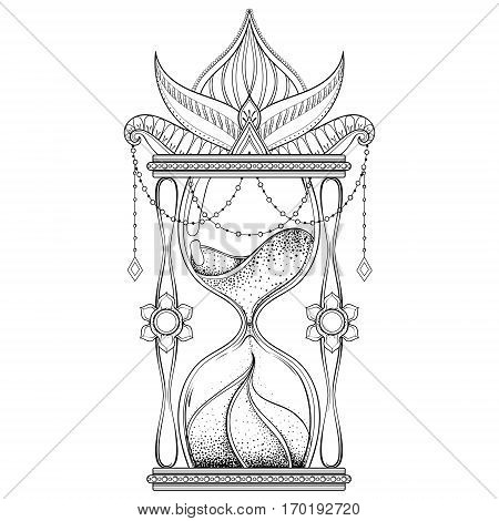 Vintage sand timer  in dotwork tattoo design for alchemist t-shirt print, adult coloring book, pages. Hand drawn antique wizard hourglass vector illustration, monochrome sketch.