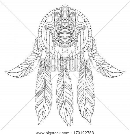 Hand drawn illustration of ethnic dream catcher with hamsa hand in zentangle graphic style, native american symbol for greeting card, boho t-shirt print, poster.