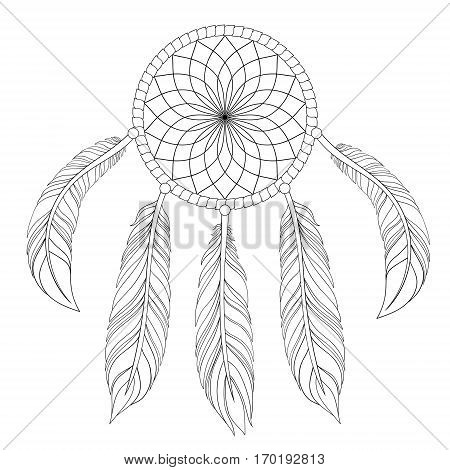 Hand drawn illustration of dream catcher in zentangle graphic style, native american symbol for greeting card, t-shirt print, poster.