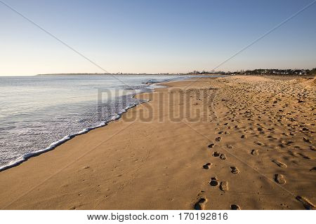view on a beach at sunset with golden sand an quiet sea