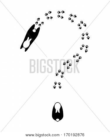 Question mark formed by cute abstract rabbits and footprints. Vector bunny footprint. View from above vector illustration black outlined animal silhouettes and paw prints on white background.