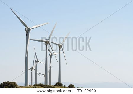 aligned group of windmills for renewable electric energy production, Navarre, Spain