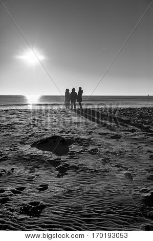 Black and white silhouette of people walking on the beach by romantic winter sunset at nature reserve Casse de la Belle Henriette, located between La Tranche Sur Mer and l'Aiguillon sur Mer , Vendee, France