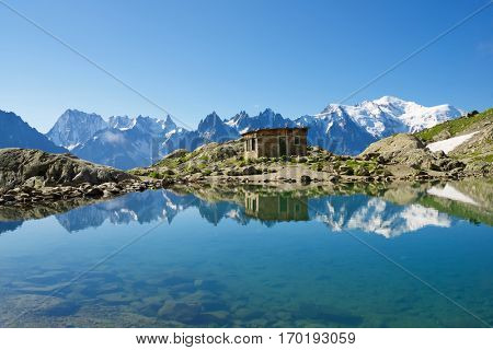 Mont Blanc Mountains reflected in Lac Blanc, Mont Blanc Massif, Alps, France
