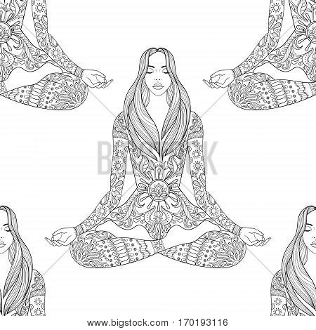 Woman sitting in lotus pose.  Vector ornate girl silhouette seamless pattern, meditation, yoga, gipsy soul, hand drawn ethnic motif.