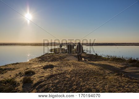 backlit silhouettes of people walking at sunset by the lagoon in natural reserve Casse de la Belle Henriette , located between La Tranche Sur Mer and l'Aiguillon sur Mer , Vendee, France