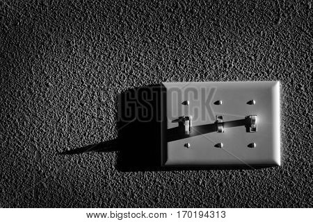 Closeup of light switch for turning on power to lamps