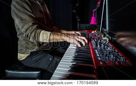 Pianist Playing Electric Piano On Concert