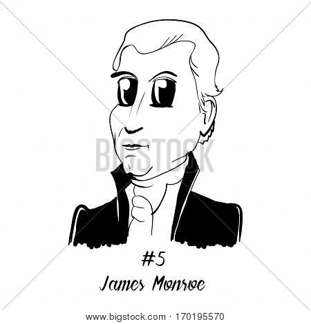 Cartoon Caricature Character Historical Portrait US Presidents Comic Emoticon - James Monroe