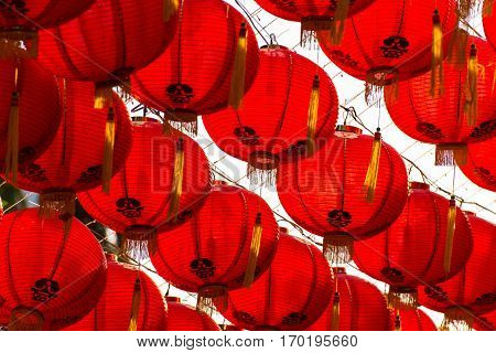 red comp lamp chiness style decoration in chiniese new year festival
